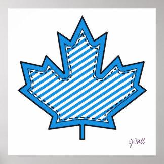 Blue Striped  Applique Stitched Maple Leaf Poster