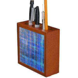 Blue Striped Art Pattern Desk Organizer