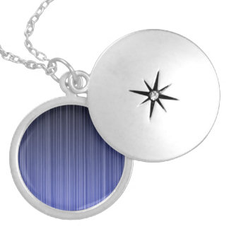 Blue Striped Background Silver Plated Necklace