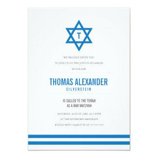 Blue Striped Bar Mitzvah Invite