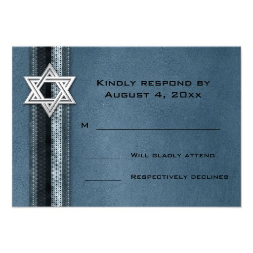 Blue Striped Bar Mitzvah RSVP Personalized Invite
