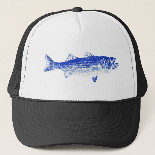 blue striped bass trucker hat