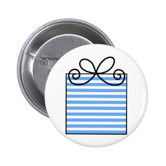 Blue Striped Birthday Present Pinback Button