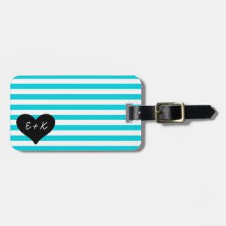 Blue Striped Black Heart Luggage Tag