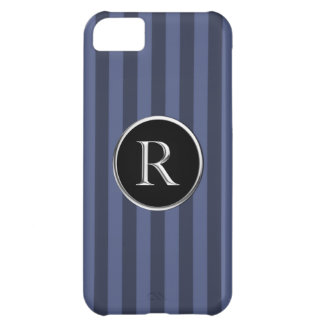 Blue Striped Black/Silver Caslon R Monogram Cover For iPhone 5C