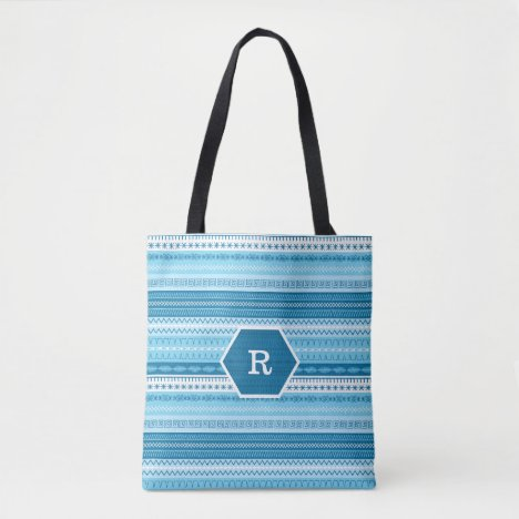 Blue striped boho sewing stitched pattern tote bag