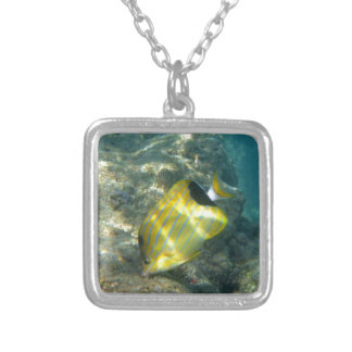 Blue-striped Butterflyfish Silver Plated Necklace