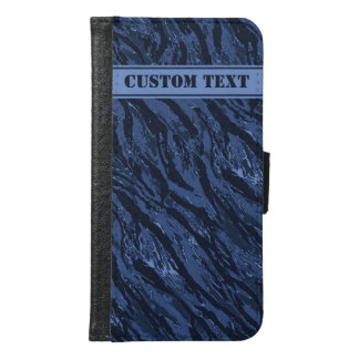 Blue Striped Camo Smartphone Wallet w/ Text