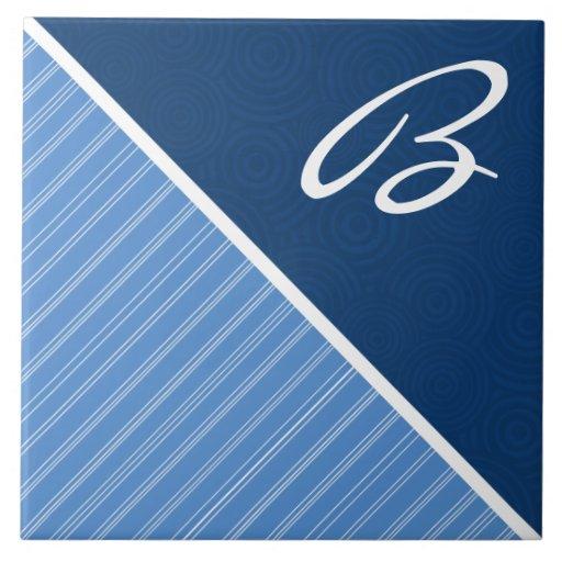 Blue Striped Ceramic Tiles