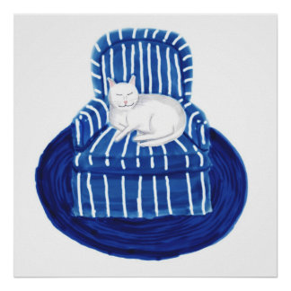 Blue Striped Chair and White Cat  Poster Print