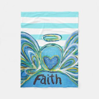 Blue Striped Faith Guardian Angel Chemo Blanket