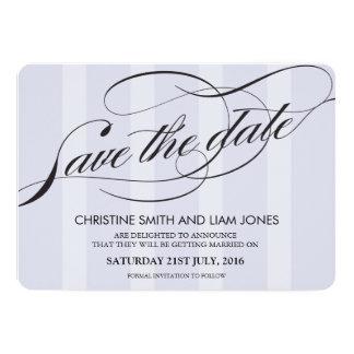 Blue Striped Flourish Swirl Save The Date Card