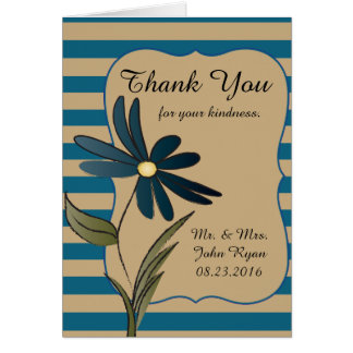 Blue Striped Flower Collection Card