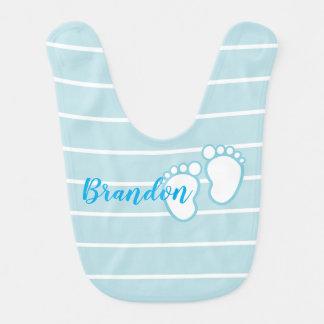 Blue Striped footprint Baby feet Personalized Name Baby Bib