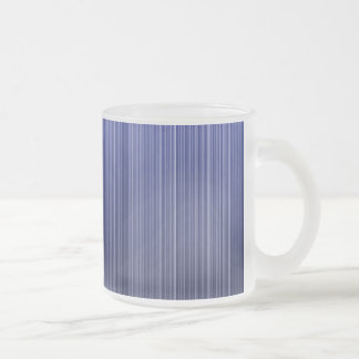 Blue Striped Frosted Glass Coffee Mug
