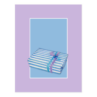 Blue Striped Gift blue Postcard