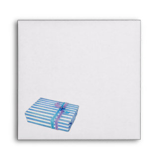 Blue Striped Gift Invitation Envelopes