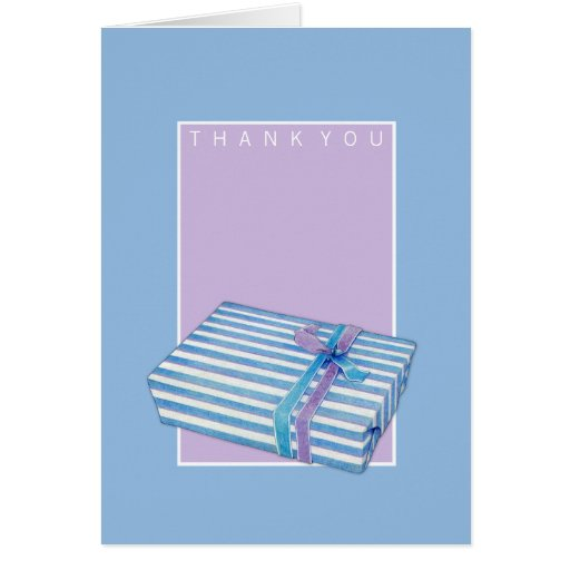 Blue Striped Gift lilac blue Thank You Note Greeting Cards