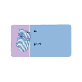 Blue Striped Gift lilac Gift Tag label