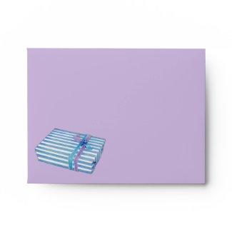Blue Striped Gift lilac Note Card Envelope envelope