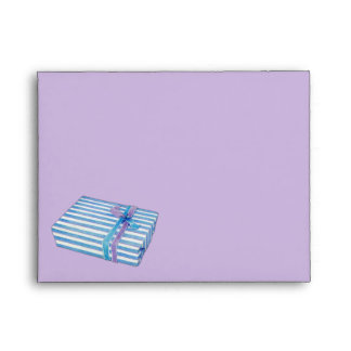 Blue Striped Gift lilac Note Card Envelope