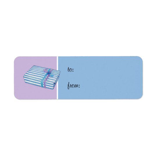 Blue Striped Gift lilac Small Gift Tag