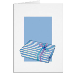 Blue Striped Gift white blue Note Card