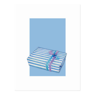 Blue Striped Gift white blue Post Cards
