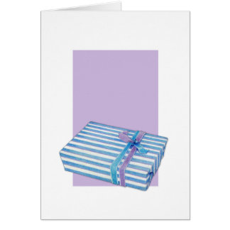 Blue Striped Gift white lilac Note Card