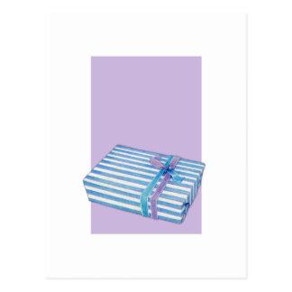 Blue Striped Gift white lilac Postcard