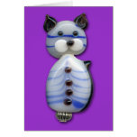 Blue-Striped Glass-Bead Cat
