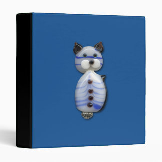 Blue-Striped Glass-Bead Cat 3 Ring Binder