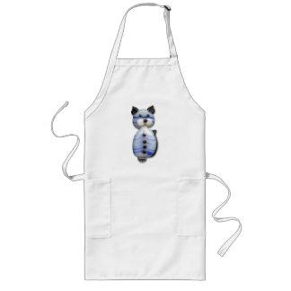 Blue-Striped Glass-Bead Cat Long Apron