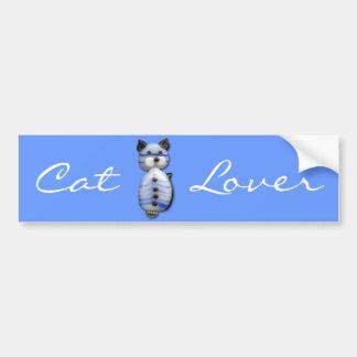 Blue-Striped Glass-Bead Cat Bumper Sticker