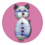Blue-Striped Glass-Bead Cat Classic Round Sticker