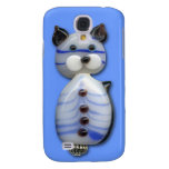 Blue-Striped Glass-Bead Cat Galaxy S4 Cover