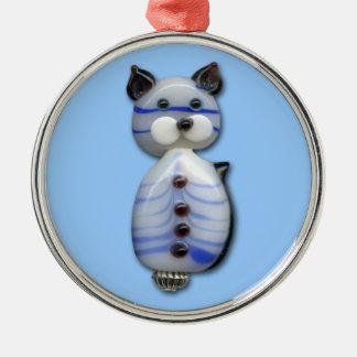 Blue-Striped Glass-Bead Cat Metal Ornament