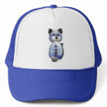 Blue-Striped Glass-Bead Cat Trucker Hat