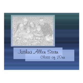 Blue Striped Grad photo card