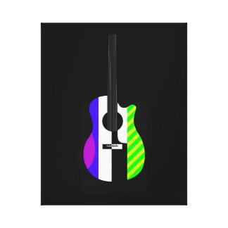 Blue Striped Guitar Canvas Print