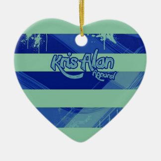 Blue striped heart ceramic ornament