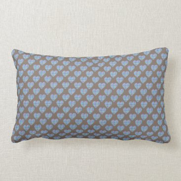 Beach Themed Blue striped hearts on dark brown lumbar pillow