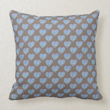Beach Themed Blue striped hearts on dark brown throw pillow