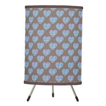 Beach Themed Blue striped hearts on dark chocolate brown tripod lamp