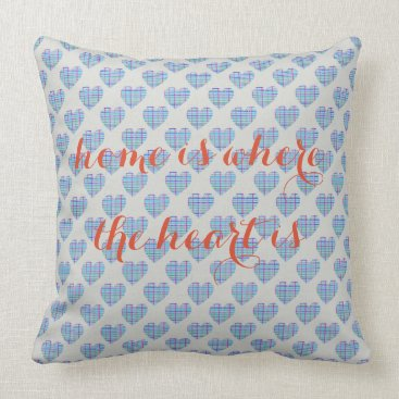 Beach Themed Blue striped hearts on pebble grey throw pillow