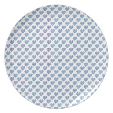 Beach Themed Blue striped hearts on white dinner plate