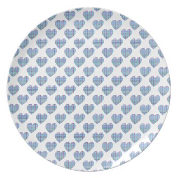 Beach Themed Blue striped hearts on white plate