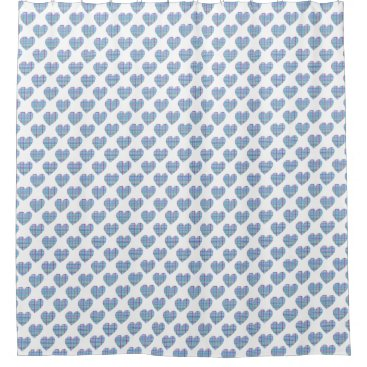 Beach Themed Blue striped hearts on white shower curtain