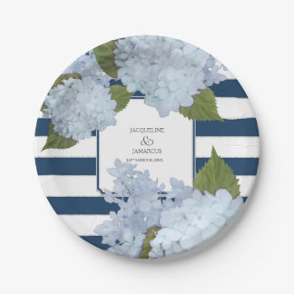 Blue Striped Hydrangea Floral Wreath Hand Painted Paper Plate