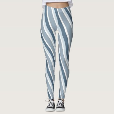 Beach Themed Blue Striped Leggings
